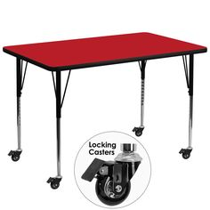 Mobile 36''W x 72''L Rectangular Activity Table with 1.25'' Thick High Pressure Red Laminate Top and Standard Height Adjustable Legs