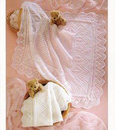 Vintage Baby Shawl Blanket Throw  Knitting Pattern by whitesatin, $1.47