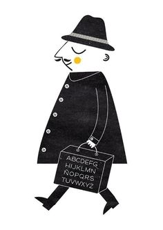 Blanca Gomez | Love thinking about this guy carrying around letters in a suitcase. Selling the alphabet.