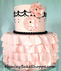Lingerie Shower Cake @Sherry S Rider , you could make a cute pink and black cake!