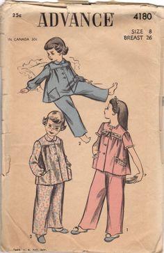 Vintage Original Advance pajamas or sleepwear sewing pattern. Pattern by: Advance # 4180 Pattern: Complete w/Instructions Date: ca. 1950's Original Price: 25c Size: 8 Breast: 26 Waist: 23 Some wear to