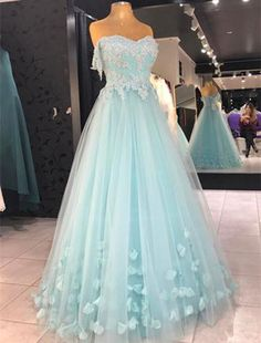Light Blue Off the Shoulder A Line Applique Tulle Long Prom Evening Party  Dress  Handmade 9f3a3c1dd9