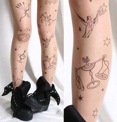 Zodiac tattoo tights on sale!  aries, taurus, gemini, cancer, leo, virgo, libra, scorpio, sagittarius, capricorn, aquarius, pisces, astrology