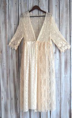 gypsy Kimono Bohemian lace crochet duster by TrueRebelClothing