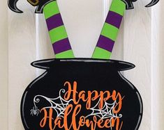This item is unavailable Wooden Door Hangers, Wooden Doors, Halloween Door Hangers, Ocean Isle Beach, Handmade Items, Handmade Gifts, How To Find Out, Craft Supplies, Witch