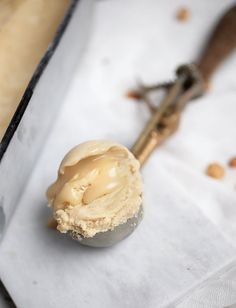 peanut butter ice cream with salty honey swirl