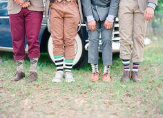 vintage groomsmen. colorful socks. mixed prints and patterns.   www.mustardandplum.blogspot.com  Peplum Events & Design  via www.iloveswmag.com  photo: Michelle March