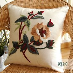 Brown Camellia Embroidery Pillow