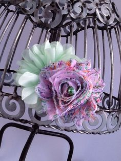 Mint green lavender and pink hair clip flower by VittysPretties, $4.75