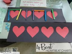Four beat heartbeat charts. Use popsicle sticks, erasers, beats and more to show the rhythms or number of sounds on each beat. Organizing a Make It / Take It Workshop, Inservice or get together for Music Teachers - Get crafty making fun manipulatives for your music classroom! Manipulative ideas for steady beat, rhythm, and melody! Rhythm cubes, beat charts, solfege texting sticks, I have, Who Has games, and bingo chip notes. Plus FREE templates! Kodaly Inspired Classroom
