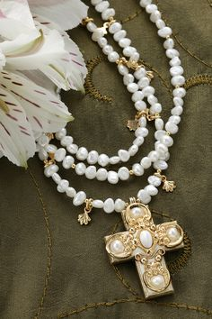 Freshwater Pearl & Mother of Pearl Cross Necklace – Celebrate Faith