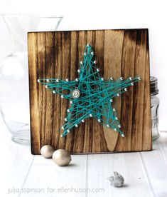 """Shine On Gift Duo by Julia Stainton...The Cosmo Cricket String Art boards come in three different patterns. Star, heart and anchor. These boards are super cut finished wood and are 8""""x8"""" in size. They make great decor accents and are so easy to do. There's no right or wrong way to add in the string."""