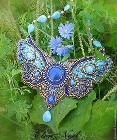 Jewelry OFF! Beautiful beaded jewelry with butterflies Bead Embroidery Jewelry, Beaded Embroidery, Beaded Jewelry, Handmade Jewelry, Jewellery, Embroidery Bracelets, Beaded Necklaces, Butterfly Jewelry, Blue Butterfly