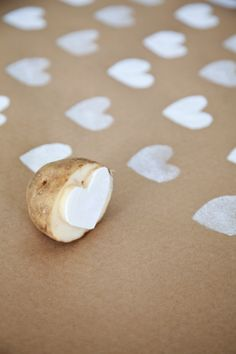 boxwood clippings_diy valentine's potato stamp wrapping