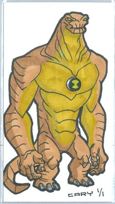 """""""BEN 10 ALIEN: HUMUNGOUSAUR"""" AUTHENTIC HAND-DRAWN 1/1 SKETCH CARD/ACEO/by CARY"""