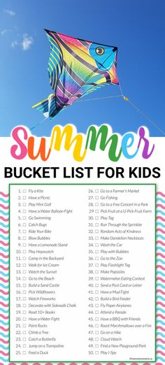 This SUMMER BUCKET LIST will provide activities for hours of fun entertainment for the whole family! This SUMMER BUCKET LIST will provide activities for hours of fun entertainment for the whole family! Summer Activities For Toddlers, Summer Fun For Kids, Summer Fun List, Summer Boy, Summer Bucket, Family Activities, Cool Kids, Summer Holiday Activities, Kids Crafts