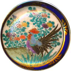 Button--Very Large Late 19th C. Japanese Satsuma Pottery Rooster in Garden with Cobalt Rim @R C Larner on Ruby Lane's 48 hour Red Tag Sale January 27!