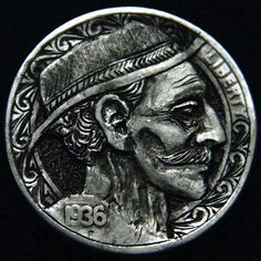 Traditional Hobo Nickel Hand carved by Robert Morris OHNS Hobo Nickel, Hand Carved, Coins, Carving, Traditional, Buffalo, Cactus, Profile, Projects