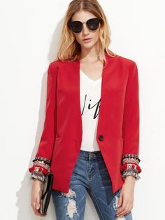 Red Collarless One Button Embroidered Cuff Blazer