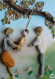 Stone Crafts, Rock Crafts, Beach Rock Art, Pottery Painting Designs, Pebble Pictures, Rock And Pebbles, Sea Glass Art, Stone Sculpture, Leaf Art