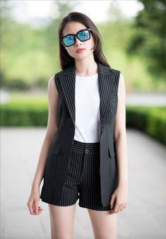 damvayxinh.net - Set bộ sọc áo vest và quần short dễ thương