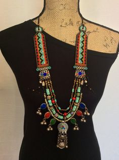 Beaded Necklace with Kuchi Pendants, Turquoise and Venetian Glass Trade Beads, Tribal Necklace, Statement Necklace, Boho Necklace