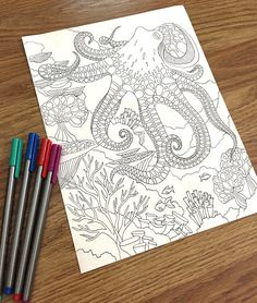 Adult Coloring Book Page With Underwater World Coral Reef