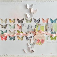 Layout: love the butterfly cutouts with patterned paper backing