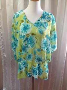 Avenue Women's #Plus Size 18/20 Shirt  Blouse Short Sleeve Peplum Green Blue  #Avenue #Blouse #Casual