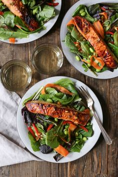 Spicy Asian Salmon Salad. Light, bright, and just a little bit spicy, this nutrient-dense salad is always a crowd-pleaser. via www.domesticate-m...