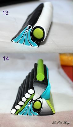 Brilliant site with complex geometric cane work. #Polymer #Clay #Canes