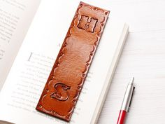 Personalized Initial Leather Bookmark, Unique Gift For Him, 3rd Anniversary Gift For Husband, Gift For Dad, Unique Gift, Leather Bookmarker by TinasLeatherCrafts on Etsy