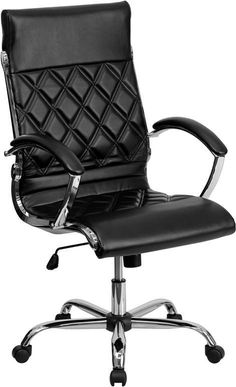 Flash Furniture GO-1297H-HIGH-BK-GG High Back Designer Black Leather Executive Office Chair with Chrome Base