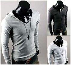 Mens Stylish Casual Long Sleeve Hoodie Shirt