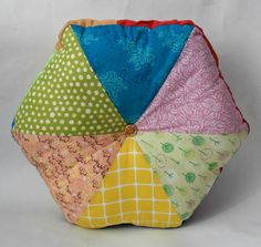 "16"" Handmade Stuffed Hexagonal Wedge Cushion"