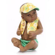 Black Doll: 10 inch African American Baby Doll Black Boy Girl Full Silicone Body