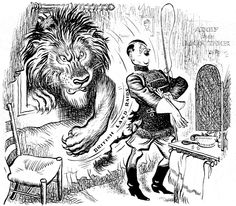 """Title [Adolf the lion tamer]  Summary Cartoon shows Hitler dressed as a lion tamer with a poster """"Adolf the Lion tamer"""" in the background. Through the window of his dressing room a lion """"British land raids"""" pokes his head and paw through and scratches Hitler's bottom.  Imprint June 27, 1940."""