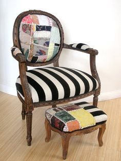 This line consists of eclectic, unique, funky, fabrics that have been combined with original pieces of furniture or flea market finds to create a showcase piece of art for the home or office.
