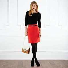 Skirt Red Outfit Winter Casual 28 Ideas For 2019 Red Skirt Outfits, Winter Skirt Outfit, Red Skirts, Casual Winter Outfits, Red Winter Dresses, Dress Winter, Work Fashion, Fashion Outfits, Business Mode