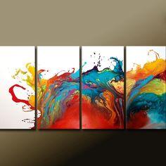 ABSTRACTO arte lienzo enorme 4pc Original por por wostudios