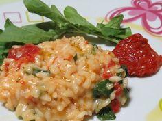 Risoto de tomates secos e rúcula