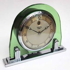 Very-Rare-Art-Deco-Chrome-Green-Glass-Smith-Sectric-Clock-Excellent ...