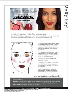 Tonights Project Runway Season 14 starring Mary Kay! Luis Casco's featured look is Sculpted Brows & Lips! Tune in tonight at 9/8C on Lifetime to see the look! http://www.marykay.com/lisabarber68 Call or text 386-303-2400 or 832-823-1123 #ProjectRunway #MaryKay #LuisCasco