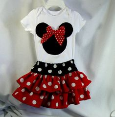 Baby Toddler Clothes Minnie Mouse Applique Onesie by MontanaTwirls, $29.00