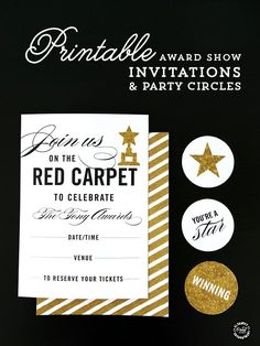 Red Carpet Award Show Party Printables {invitation and party circles} for the Emmys, Golden Globes, Grammys, Oscars, Tonys, or any other celebration. Free download from Elegance and Enchantment.