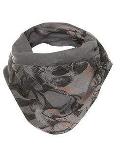Who doesn't love skulls and flowers? Unfortunalty, unless you are between the ages of 15 and 23, they aren't considered professonal and you can't wear them...or can you??? this scarf is just enough to push the edge with your employer, but not enough to be considered inappropriate.  Use it to tone down a bright shirt and they will probably never notice you wearing your beloved skulls and flowers.