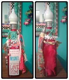 "https://flic.kr/p/LaBUtg | 1 Corinthians 2:9 Altered Bottle | No eye has seen, no ear has heard, and no mind has imagined what God has prepared for those who love Him. Altered bottle.16"" Hot pink clear glass bottle with boho adornments. tassel, beads, repurposed jewelry and finial topper.  Rosary beads and silver cross. made by Jazzie Menagerie"