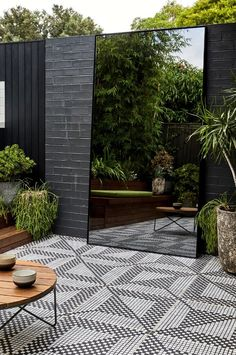 Landscape Design Dulwich Hill — Adam Robinson Design black & white tiled outdoor deck, outdoor mirror expands the view, black outdoor tile, Adam Robinson Design Small Space Gardening, Garden Spaces, Small Gardens, Outdoor Gardens, Modern Gardens, Indoor Outdoor, Outdoor Living, Small Courtyard Gardens, Small Backyard Gardens