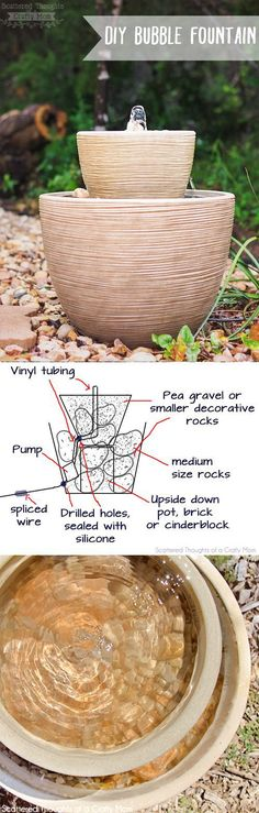 Instructions on how to make this easy Bubble Fountain for your backyard or porch! Instructions on how to make this easy Bubble Fountain for your backyard or porch! Backyard Projects, Outdoor Projects, Garden Projects, Backyard Ideas, Diy Jardin, Jardin Decor, Diy Fountain, Garden Fountains, Bird Bath Fountain