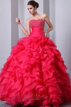 Puffy Hot Pink A-Line / Princess Sweetheart Beading and Ruffles Quinceanea Dress Floor-length Organza